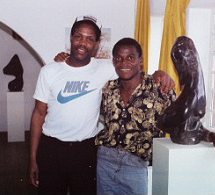 Danny Glover with his Zimbabwe stone sculpture