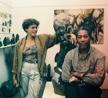Morgan Freeman with his sculpture from Stone Dynamics